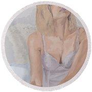 Jenny In White Round Beach Towel