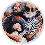 Jerry Garcia And The Grateful Dead Round Beach Towel
