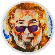 Jerry Garcia-dark Star Round Beach Towel
