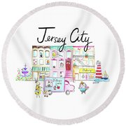 Jersey City Round Beach Towel