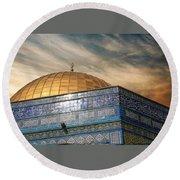 Jerusalem - Dome Of The Rock Sky Round Beach Towel