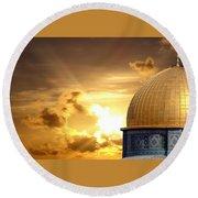 Jerusalem - The Morning Light Round Beach Towel