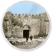 Jerusalem: Damascus Gate Round Beach Towel