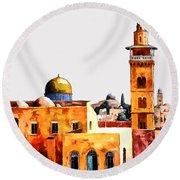 Jerusalem Domes And Minarets Round Beach Towel