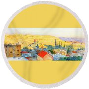 Jerusalem In 1899 Round Beach Towel