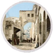 Jerusalem: Via Dolorosa Round Beach Towel