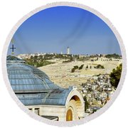 Jerusalem View Round Beach Towel