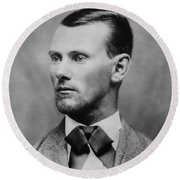 Jesse James -- American Outlaw Round Beach Towel