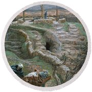 Jesus Alone On The Cross Round Beach Towel by Tissot