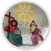 Jesus And Abraham Round Beach Towel
