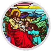 Jesus And Children Round Beach Towel