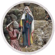 Jesus And His Mother At The Fountain Round Beach Towel by Tissot
