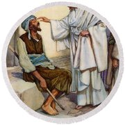 Jesus And The Blind Man Round Beach Towel