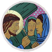 Jesus And The Women Of Jerusalem Round Beach Towel