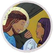 Jesus And Veronica Round Beach Towel