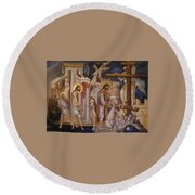 Jesus Arrest And Preparation For Crucifiction Round Beach Towel