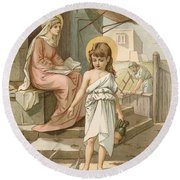 Jesus As A Boy Playing With Doves Round Beach Towel by John Lawson