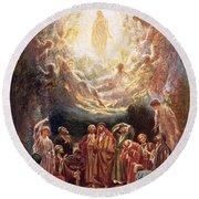 Jesus Ascending Into Heaven Round Beach Towel