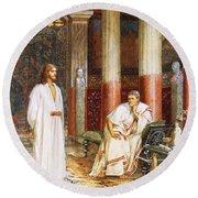 Jesus Being Interviewed Privately Round Beach Towel