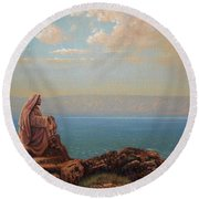 Jesus By The Sea Round Beach Towel