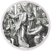 Jesus Changes Water Into Wine, Gospel Of John Round Beach Towel