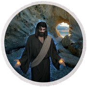 Jesus Christ- And Surely I Am With You Always Round Beach Towel