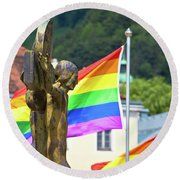 Jesus Christ Crucifixion And Gay Pride Flags View Round Beach Towel
