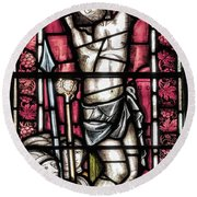 Jesus Christ Crucifixtion Stained Glass Round Beach Towel