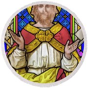 Jesus Christ Stained Glass Round Beach Towel