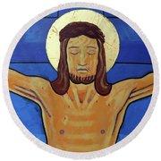 Jesus Dies On The Cross Round Beach Towel