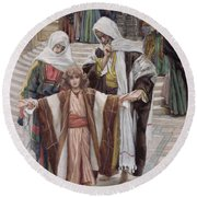 Jesus Found In The Temple Round Beach Towel by Tissot