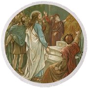 Jesus In Front Of Pilate Round Beach Towel