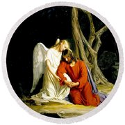 Jesus In Gethsemane Round Beach Towel