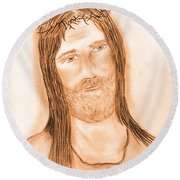 Jesus In The Light Round Beach Towel