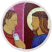 Jesus Is Condemned Round Beach Towel