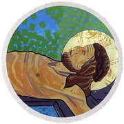 Jesus Is Nailed To The Cross Round Beach Towel