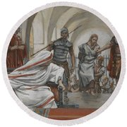 Jesus Led From Herod To Pilate Round Beach Towel by Tissot