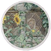 Jesus Looking Through A Lattice With Sunflowers Round Beach Towel