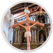 Jesus On The Cross In San Ramon, Bolivia Round Beach Towel