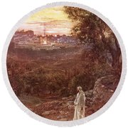 Jesus On The Mount Of Olives Round Beach Towel by William Brassey Hole