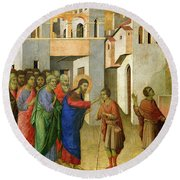 Jesus Opens The Eyes Of A Man Born Blind Round Beach Towel by Duccio di Buoninsegna