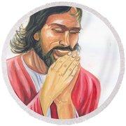 Jesus Praying Round Beach Towel
