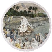 Jesus Preaching By The Seashore Round Beach Towel by Tissot