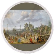 Jesus Preaching On The Shores Of The Sea Of Galilee Round Beach Towel