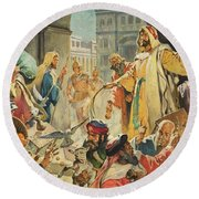 Jesus Removing The Money Lenders From The Temple Round Beach Towel