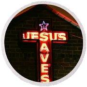 Jesus Saves In Neon Lights Round Beach Towel