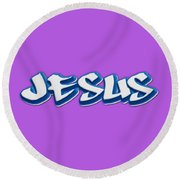 Jesus Tee Round Beach Towel