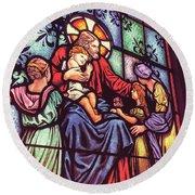 Jesus With The Children Round Beach Towel