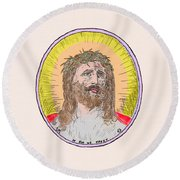 Jesus With The Crown Of Thorns Round Beach Towel