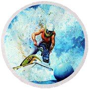 Jet Blue Round Beach Towel by Hanne Lore Koehler